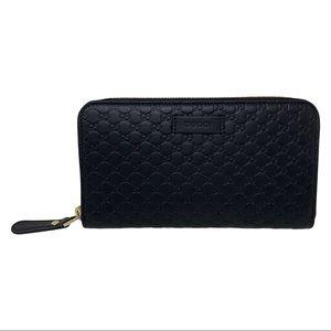 Gucci Black Micro GG Guccissima Zip Around Wallet